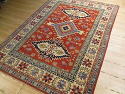 5x8 Super Tribal Geometric Natural Vegetable Dye Hand-knotted Wool Rug 584013