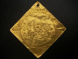 17th Century Germany German Russian Christ Baptismal Square Gold Coin Medal Rare