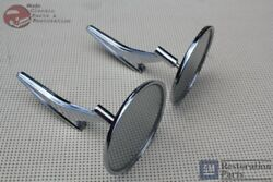 66-68 Chevy Outside Door Mounted Rear View Mirror Ribbed Base Pair