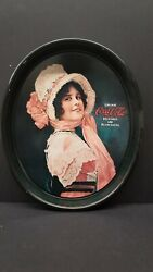 Vintage Oval Coca-cola Tip Serving Tray Betty Girl Delicious And Refreshing 1972