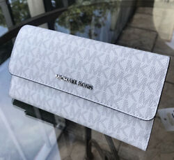 Michael Kors Women Large Leather Long Trifold id Wallet Clutch Bright White Grey $55.95