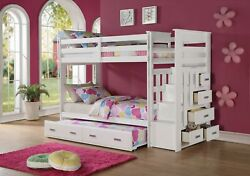97 X 43 X 68 Twin Over Twin White Storage Ladder And Trundle Bunk Bed