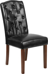 Hercules Grove Park Series Black Leather Soft Tufted Parsons Chair