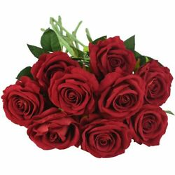 10pcs Artificial Stem Plant Flowers Bouquet Of Roses For Home Decor And Wedding