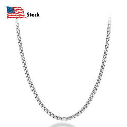 Solid 925 Sterling Silver 3mm Round Box Chain Necklace 18-28 For Women And Men