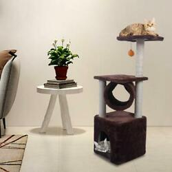 36quot; Brown Pet Cat Tree Play House Tower Condo Bed Scratch Post Toy Balls