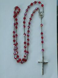 1 Vintage Italy Rosary Religious Ruby Red Iridescent Glass Beads Sterling Medal