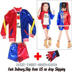 Girls Halloween Costumes Harley Quinn Cosplay Suicide Squad for Kids $19.98
