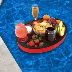Floating 17quot; Oval Red Black Refreshment Drink Tray Pool Float Drink Holder