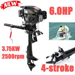 6hp 4stroke Heavy Duty Outboard Motor Marine Shaft Boat Engine Air Cooling