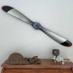 Replica Wwi Us Silver Wood Wooden Airplane Aircraft Propeller 47 Black Red Tips