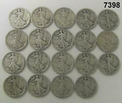 1917 Lot Of 19 Early Walking Liberty Halves 90 Silver One 1917 D Obverse 7398