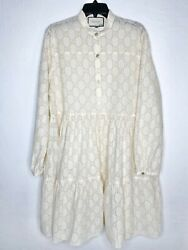 Cream Ivory Gg Broderie Anglaise Long Sleeve Cotton Shirt-dress 46it 10 L