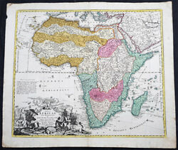 1715 J B Homann Large 1st Edition Antique Map Of Africa