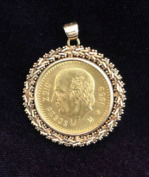 1959 Mexico 22k Gold 10 Peso Coin In 14k Gold Bezel Pendant Excellent Condition