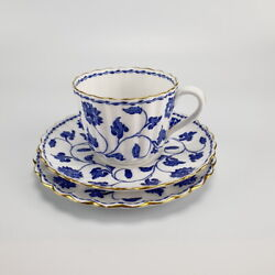 Vintage Blue And White Spode Colonel Bone China Trio Tea Cup 22k Gold Edging