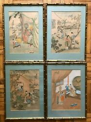 Chinese Antique Qing 守古山人,秋泉居士) Silk Painting 4 Ps Each Size 5137cm