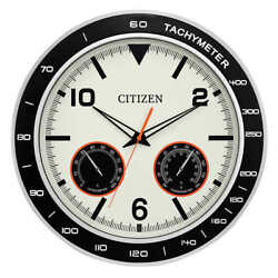 Citizen 18 inch Large Silver Wall Clock With Hygrometer and Thermometer