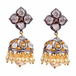 Jhumkas Earring Polki And Pave Diamond 925 Silver Pearl Jewelry Earring G48
