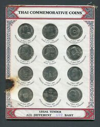 1977 - 1982 Thailand 5 And 10 Baht Coin Set In Original Holder Queen Boy Scouts +