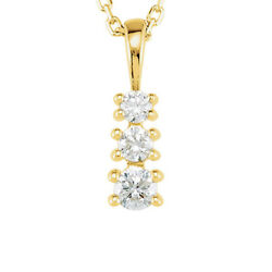 14k Yellow Gold And Diamond 3-stone Journey Necklace 18 Inch