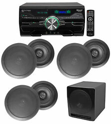 4000w Home Theater Dvd Receiver W/bluetooth+5 Black 6.5ceiling Speakers