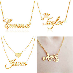 Personalized Custom Nameplate Name Necklace Letter Pendent Gift Gold Platted $15.99