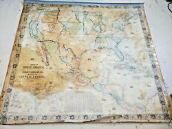 1853 Antique Wall Map Of The United States And Mexico Rare Hand Colored