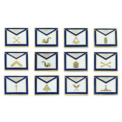 Officer Apron Set Of 12 Pins Masonic Lapel Pin - [blue And White][3/4and039and039 Wide]