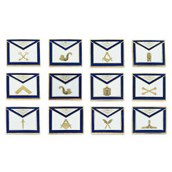 Officer Apron Set Of 12 Pins Masonic Lapel Pin - [blue And White][3/4'' Wide]