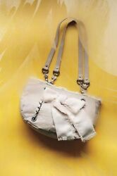 Anthropologie Miss Albright Purse Frayed Bow Satchel Pink Chain Leather Bag Nwt