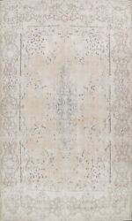 Muted Kirman Semi Antique Hand-knotted Area Rug Distressed Evenly Low Pile 10x14
