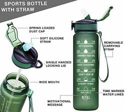Bottle With Time Marker Straw Giotto 32oz Leakproof Bpa Free Drinking Water