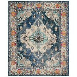 Traditional Distressed Medallion Blue Area Rug Free Shipping