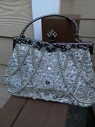 Womens vintage beaded Sequin Evening Bag Clutch Wedding Party Purse $26.99