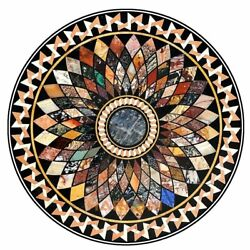 36 Marble Dining Table Top Multi Stone Geomtrical Inlay Art Interior Decor B302