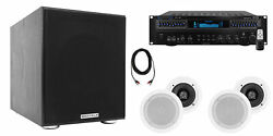 Technical Pro Home Theater Receiver+4 5.25 White Ceiling Speakers+8 Subwoofer