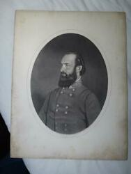 1860s-1870s Confederate General Stonewall Jackson A. B. Walter Engraving Vg