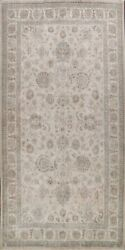 Antique All-over Floral Muted Tebriz Traditional Light Beige Area Rug Wool 10x16