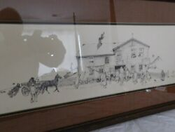 Norman Rockwell Blacksmith Shop 30/375 1971 Rare Signed Lithograph 16x32