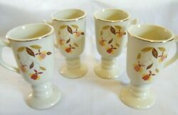Set of 4 HALL AUTUMN LEAF IRISH COFFEE MUGS