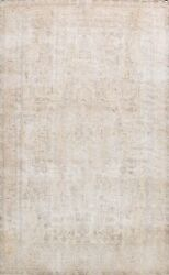 Muted Semi Antique Traditional Vintage Distressed Hand-knotted Area Rug 9x12 Ft