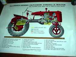 Very Rare Mccormick-deering Culti-vision Farmall A Tractor Color Poster Nice