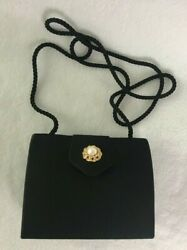 Black Satin Nieman Marcus Evening Bag Gold Tone Faux Pearl Embellishment $15.00
