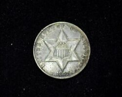 Hsandc 1867 Three Cent Silver Piece Xf - Us Coin