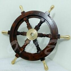Handmade 18 Wooden Helm Ship Wheel Boat Steering Vintage Replica Antique Gift