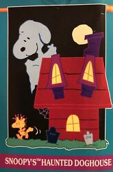 Snoopy Peanuts Woodstock Haunted Doghouse Halloween Applique Large Yard Flag New