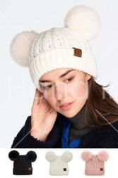 C.c Exclusive Double Pom Pom All Over Cable Ribbed Knit Winter Warm Beanie