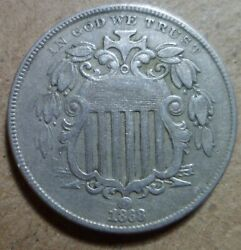 1868 Shield Nickel High Grade Rpd Repunched Date 5c Estate Collector Coin 282