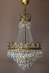 Antique French Empire Vintage Crystal Chandelier Dining Room Ceiling Light Lamp
